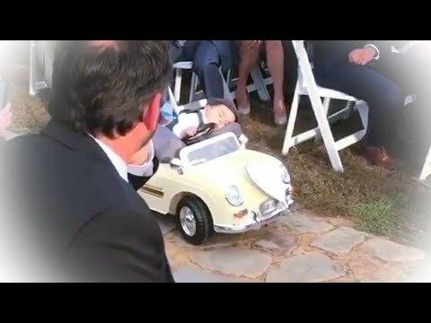 VIDEO | Vaata ja naera! Kui on aeg pruutpaarile sõrmused viia, jääb sõrmusekandja autoroolis lootusetult tukkuma