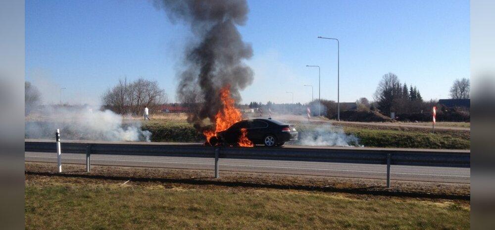 Tallinna-Tartu mnt põleb BMW