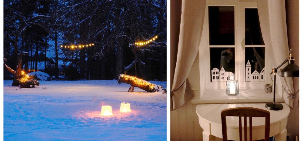"""""""Pühad minu kodus 2018""""   Jäälaternad ja aknakaunistused pühadehõngulises maakodus"""