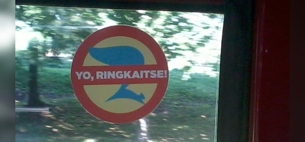 FOTO: Reformierakonna vastane kleeps Tallinna ühistranspordis