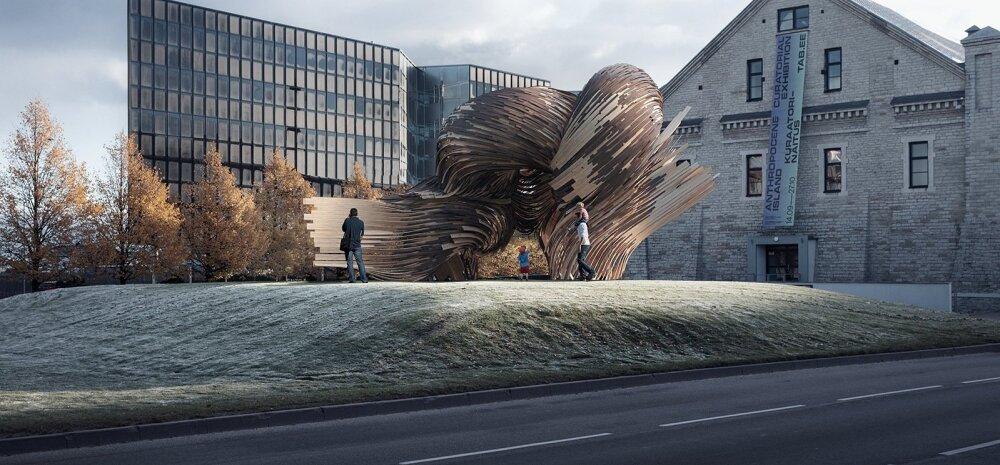 """Installatsioon """"Steampunk"""", mida näeb arhitektuurimuuseumi ees, valmib saarepuidust, mis on kõige paremini painduv puit. Sellele annavad tugevuse ja heitlikule ilmastikule vastupidavuse Eesti tootja Thermory termotöödeldud puidust detailid."""
