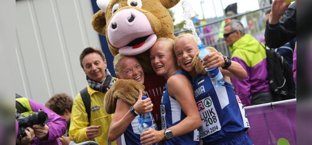 ФОТО: Эстонские сестры-тройняшки пробежали марафон на чемпионате Европы