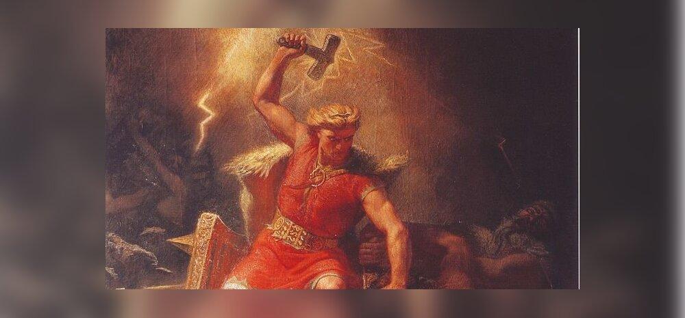 Thor võitmas jöötuneid. Kunstnik: Mårten Eskil Winge (1872)