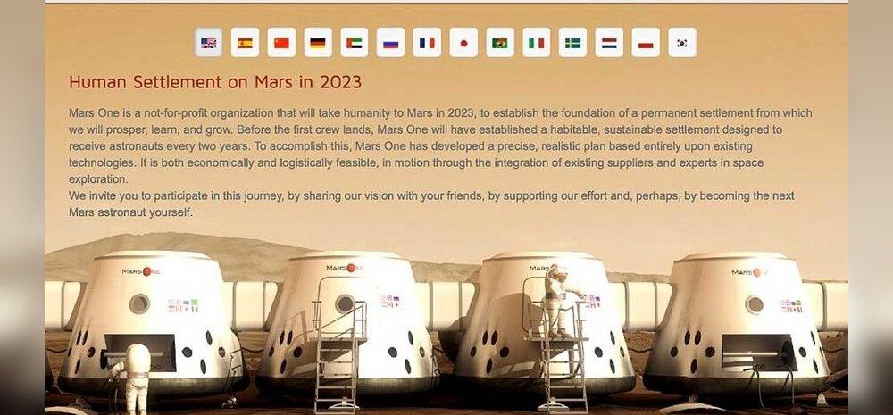Sada tuhat inimest tahab lennata Marsile ja mitte kunagi enam Maale naasta