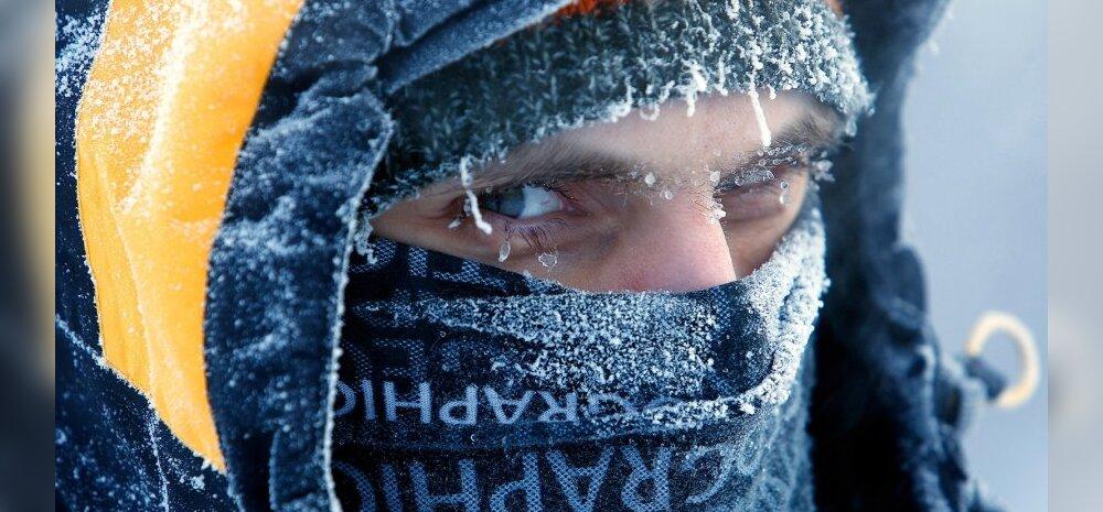 Külm, jää, talv, lumi, miinuskraadid, silmad, soojad riided