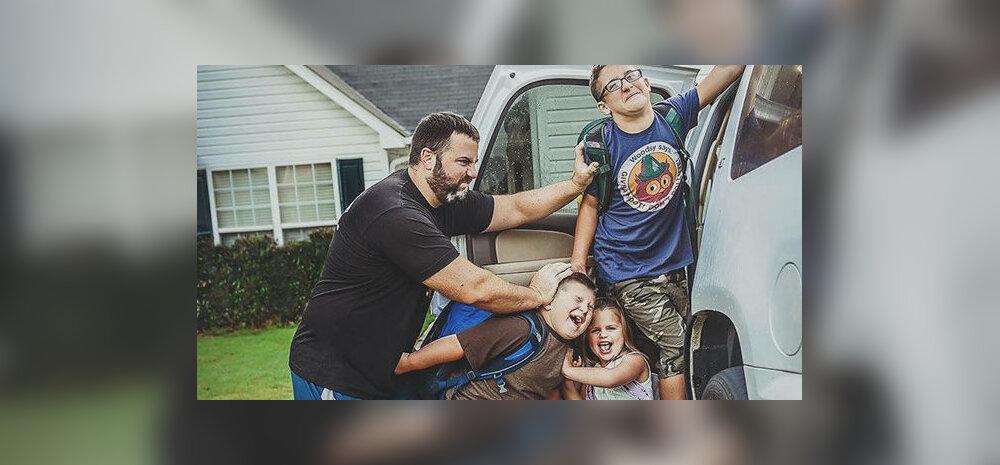 Lahedad FOTOD: Suvevaheajast väsinud vanemad ei suuda oma õnneemotsioone varjata, kui õnnetutel lastel jälle kool hakkab
