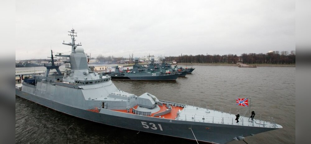 Naval ships in Kronshtadt port prepared for voyage