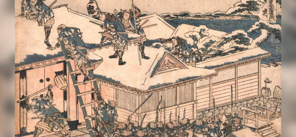 47 ronini rünnak Kira paleele. Kunstnik Katsushika Hokusai 19. sajandil