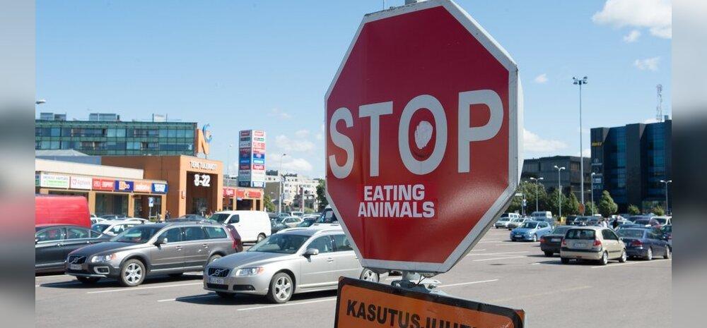 FOTO: Tallinnas sadama Rimi juures käsib märk lõpetada loomade söömise