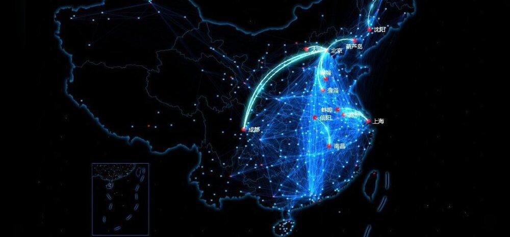 Hiinlaste ränne mobiilivõrkude andmetel. Baidu / BBC