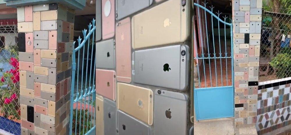 ВИДЕО | Мужчина построил на участке забор из iPhone