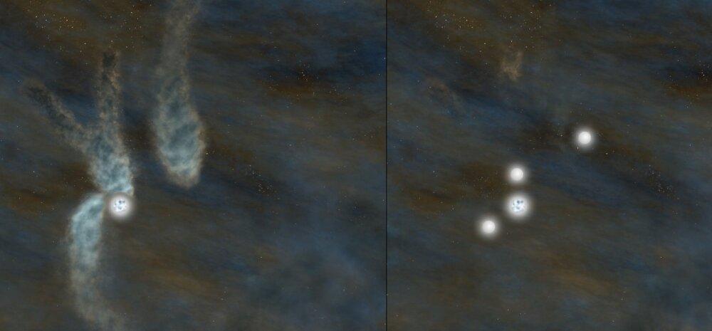 Teadlased avastasid haruldase tähesüsteemi, kus on korraga sündimas neli tähte