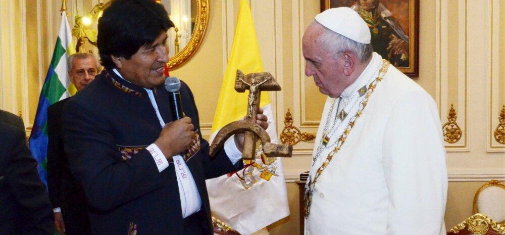 """Paavst palus Ameerika põlisrahvastelt kiriku tegude eest andestust ja sai kingiks """"kommunistliku krutsifiksi"""""""