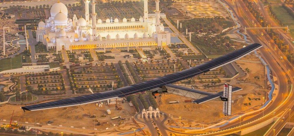 Päikeseenergial töötav lennuk alustas naftašeikide maalt ümbermaailmareisi