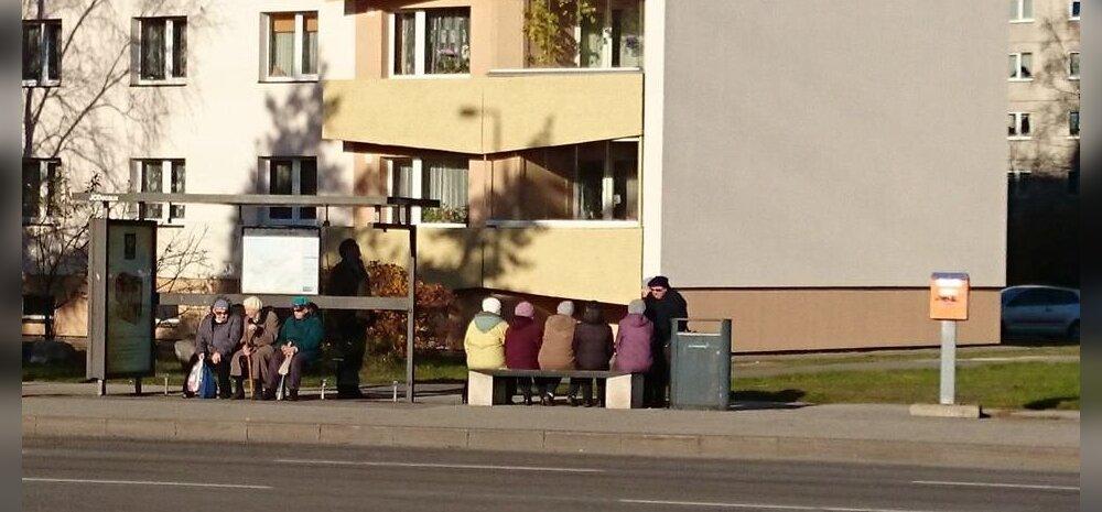 FOTO: Vanadaamid peavad bussipeatuses infotundi