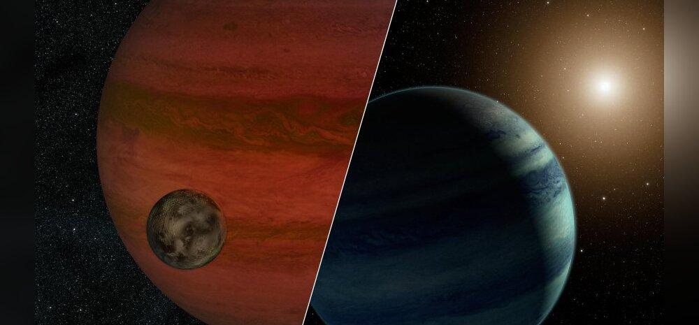 Planeet kuuga ja planeet tähega. Kunstniku joonis: NASA/JPL-Caltech