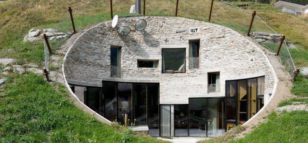 Mäenõlva ehitatud villa, kuhu pääseb vaid tunnelist