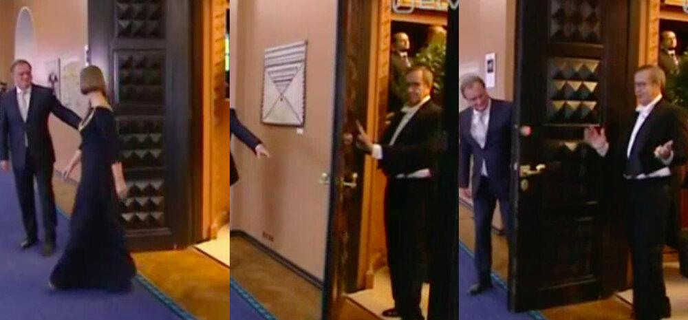 VIDEO: Sekundiga tsiviilisikuks! Kaljulaidi järel Riigikogu istungisaalist väljunud Ilves sai äärepealt uksega vastu pead
