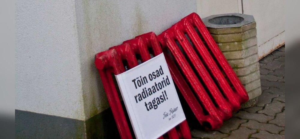 FOTOD: Vembumees viis Nõmme linnaosa valitsuse ette punased radiaatorid