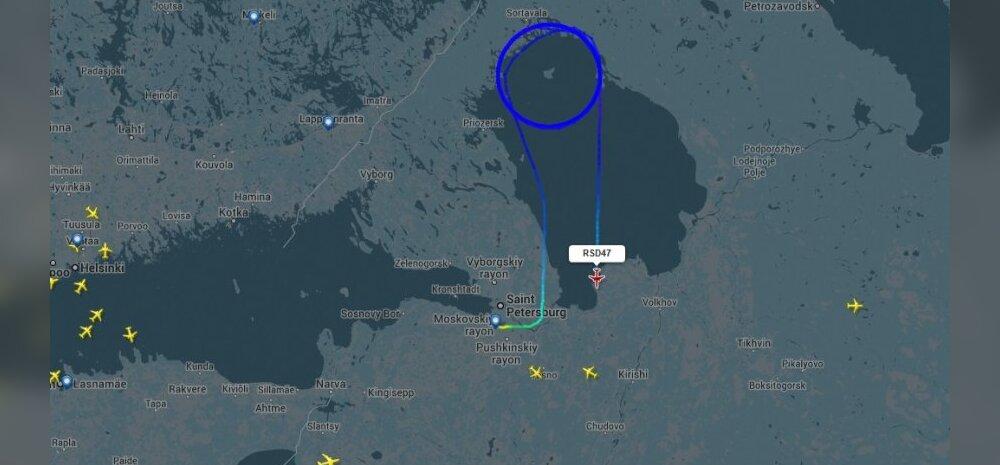 Venemaa erilennuk Tu-214SR tiirutas terve päeva Laadoga järve kohal