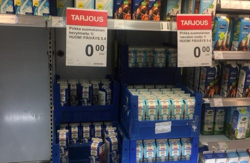 FOTO | Soomes annab lahke poepidaja tänase kehtivusajaga piima ära tasuta