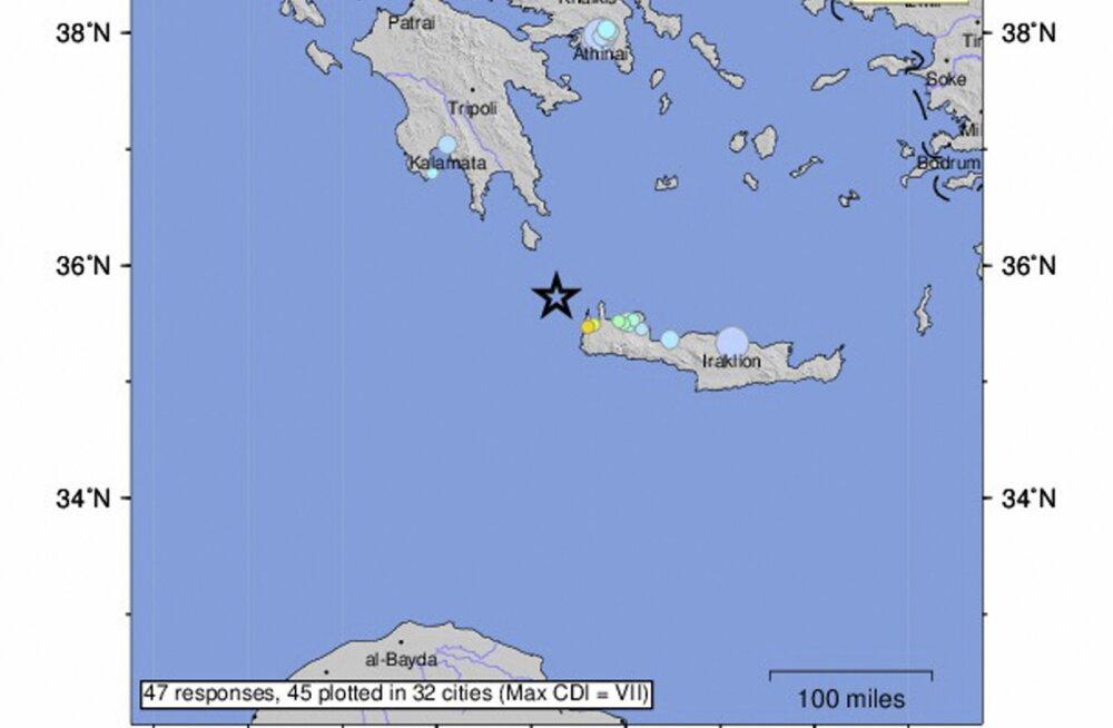 Kreeta saare juures toimus maavärin magnituudiga 6,0