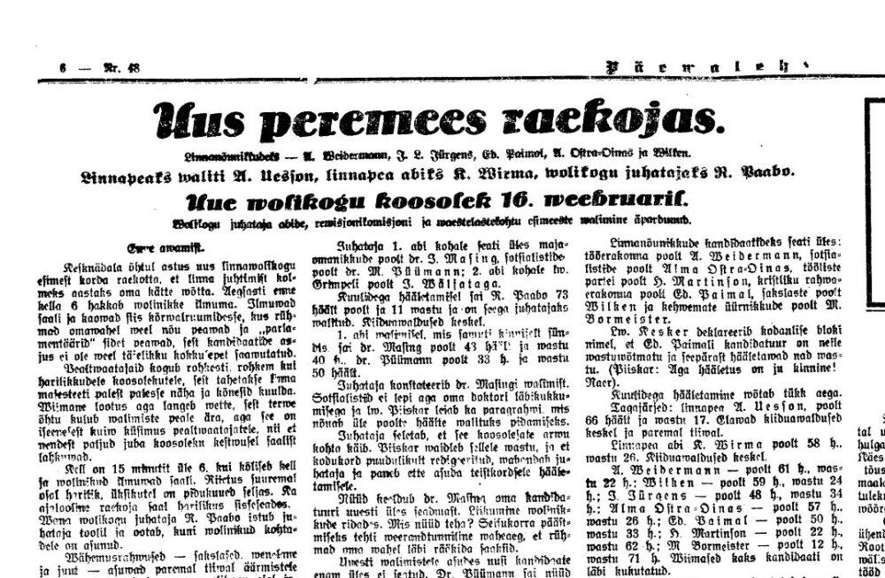 Valimised Tallinnas 1927. aastal: kommuniste pole, rahu majas?