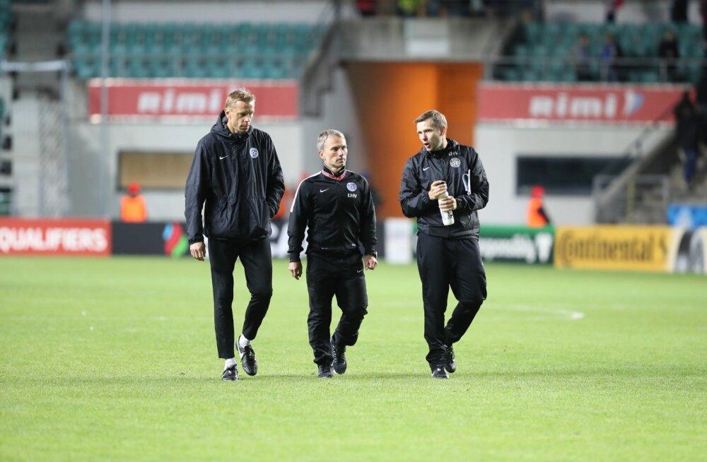 Eesti jalgpallikoondise treenerid, keskel Martin Reim