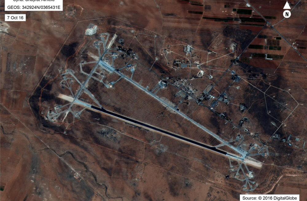 FOTO ja KAART: Vaata USA raketilöökide sihtmärgiks olnud lennubaasi asukohta Süüria kaardil