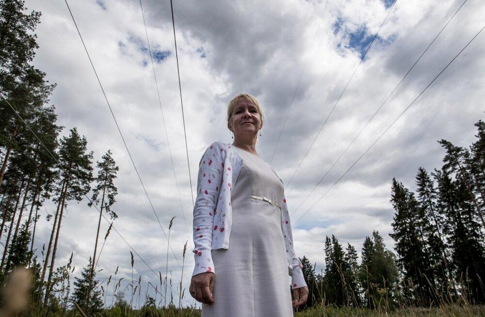 Külli Veidemann seisab 2018. aasta augustis tema kinnistut läbivate elektriliinide all, mille rajamiseks ta ei ole nõusolekut andnud.