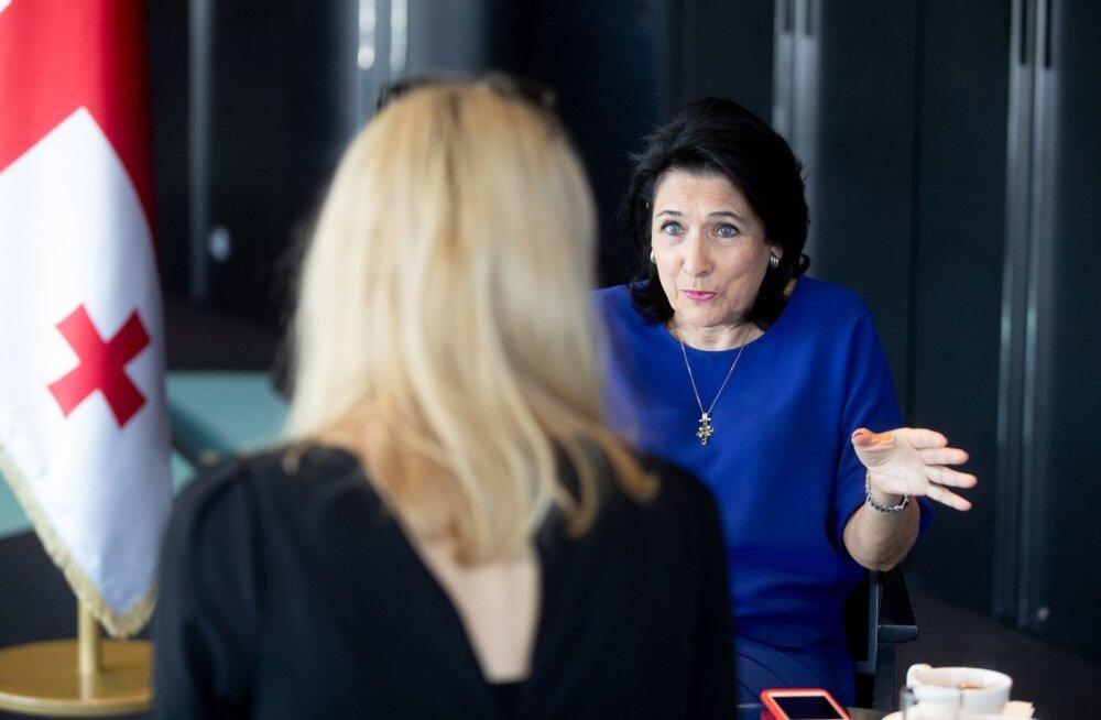 Gruusia riigipea Salome Zurabišvili täna intervjuud andmas.