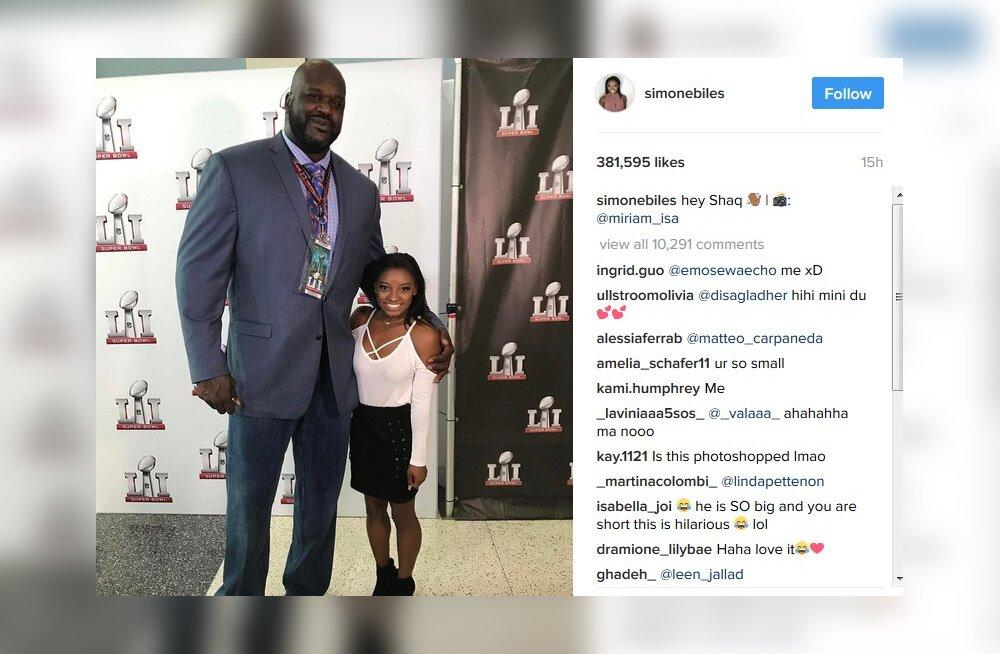 FOTO: Super Bowlil kohtusid 216 sentimeetrit pikk Shaquille O'Neal ja talle nabani ulatuv USA võimlemistäht