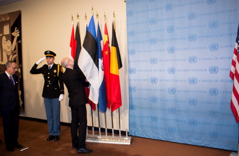 Eesti lipp asetati ÜRO julgeolekunõukogu saali ette.