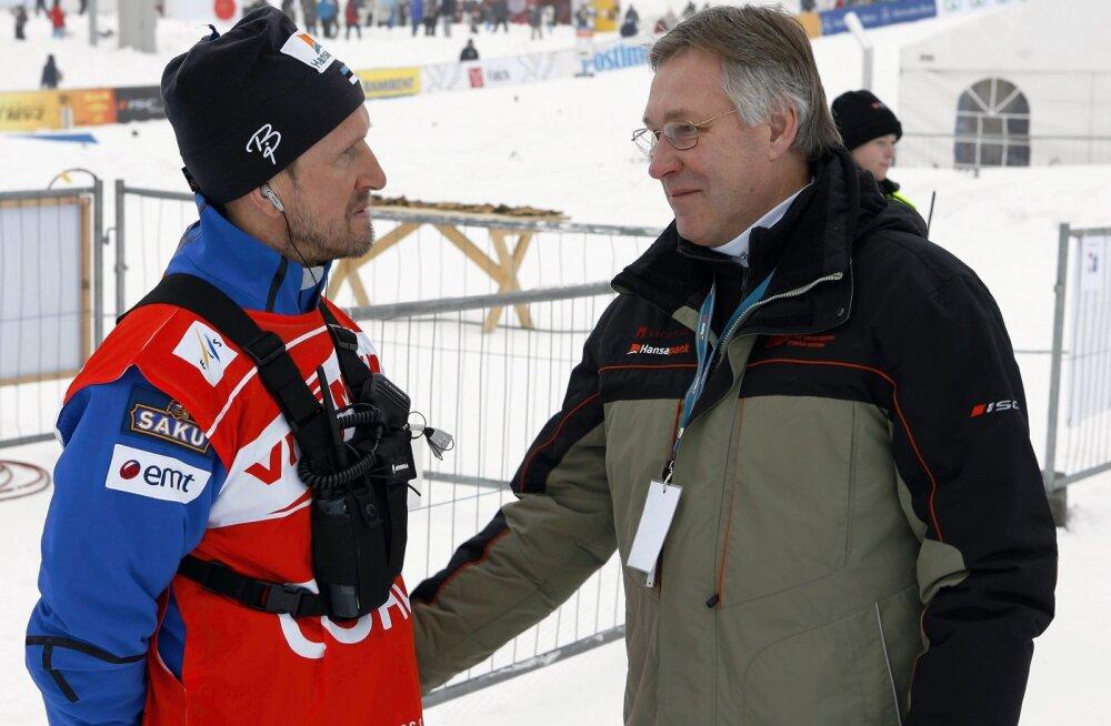 Mati Alaver ja toonane Suusaliidu president Toomas Savi