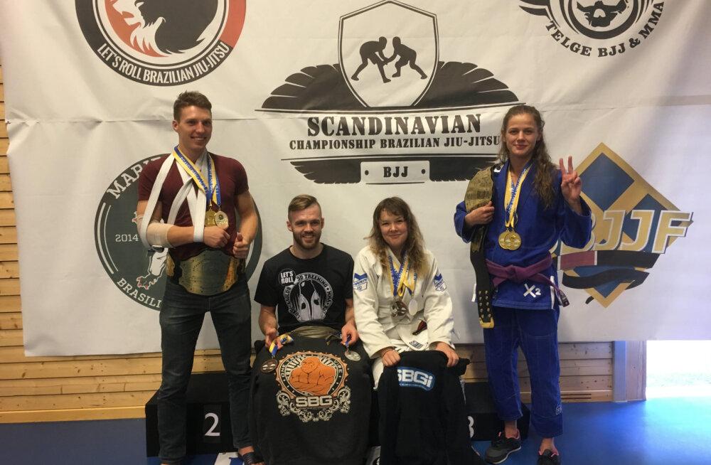 Eesti Brasiilia jiu-jitsu võidukas tiim: Lauri Kütt, Sten Maaslieb, Laura Mallene ja Liisi Vaht