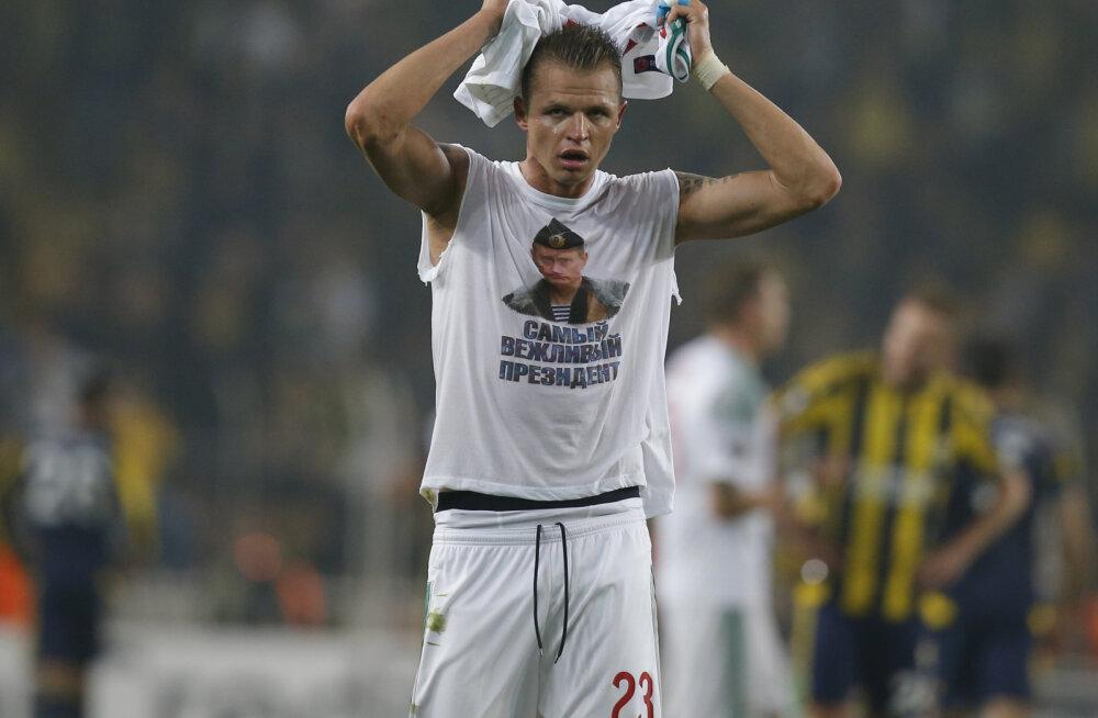 FOTO: Putinit toetavat särki kandnud jalgpallur võib Venemaa klubile trahvi kaasa tuua