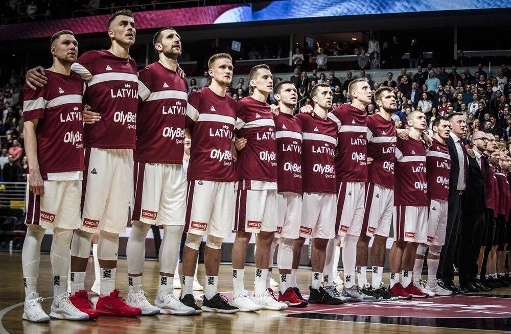 Läti korvpallikoondis mängus Hispaaniaga