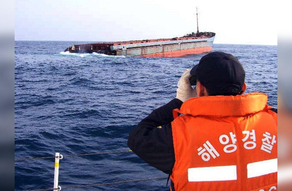 Pärast kokkupõrget uppus Lõuna-Korea rannikul Vene meeskonnaga laev
