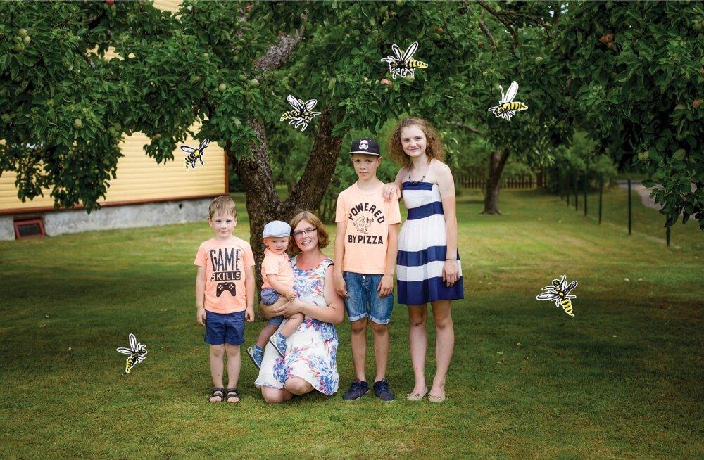 Kaljurite peres kasvavad Mikk Markus (5), Hugo Rasmus (2), Marten (11) ja Hannah (13). Pereema Triin meenutab, et kui Marten sai eelmisel suvel herilaselt nõelata, oli tema nägu nii turses, et poiss sai silmad avada alles kuue päeva pärast.