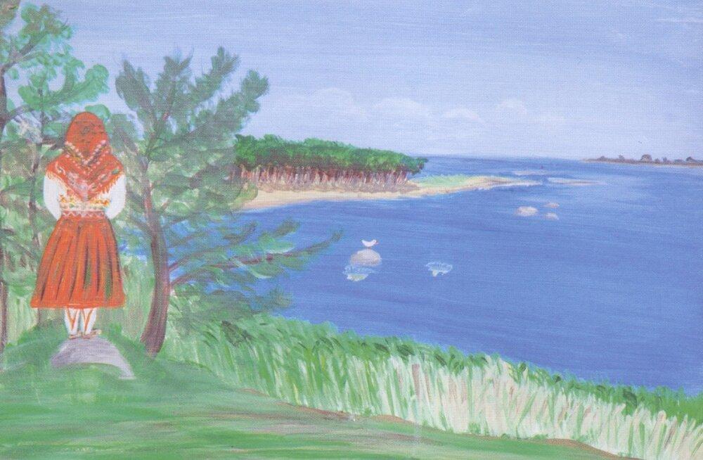 Unistavalt merd vaatav Kihnu neiu mõtleb, kas mandrirahvas on rahulikuma unega. Illustratsioon raamatust.