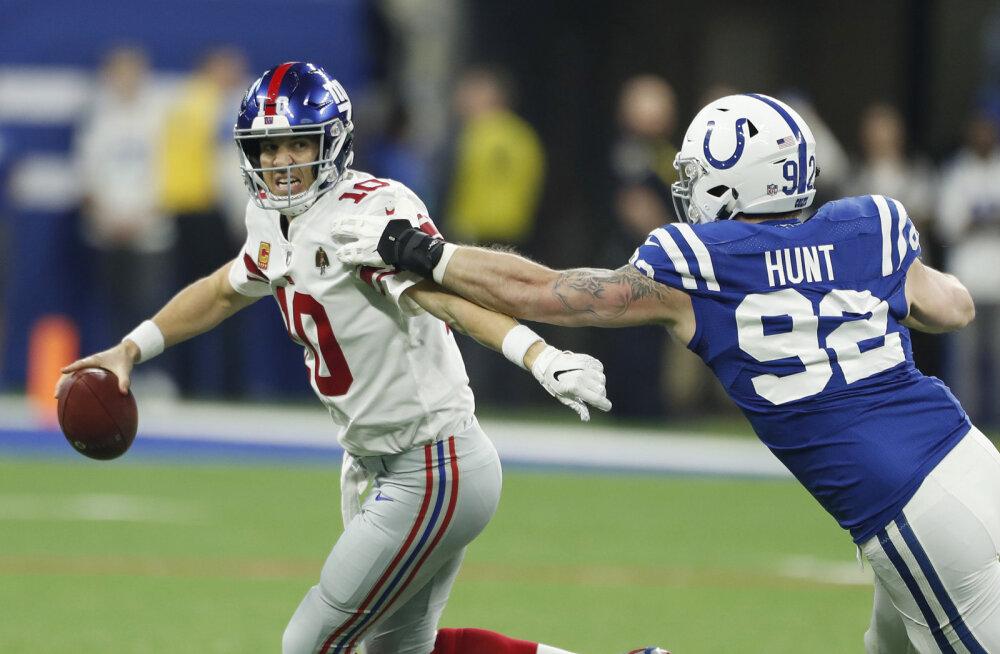 Hunt ja Colts said New Yorgis raske võidu ning kolme tunni pärast superuudise