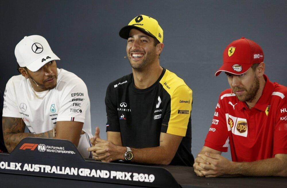 Hamilton, Ricciardo ja Vettel