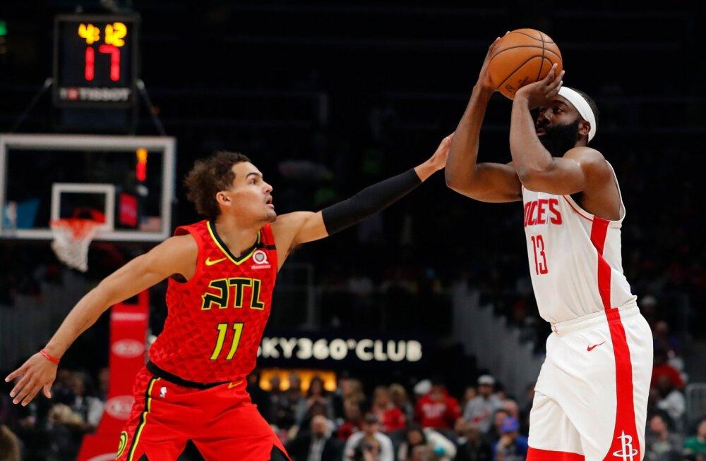 Ühes mängus kaks 40 punktiga kolmikduublit! James Harden ja Trae Young tegid NBA ajalugu
