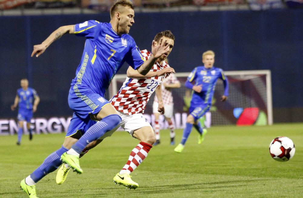Ukraina jalgpallur Andri Jarmolenko mängus Horvaatiaga