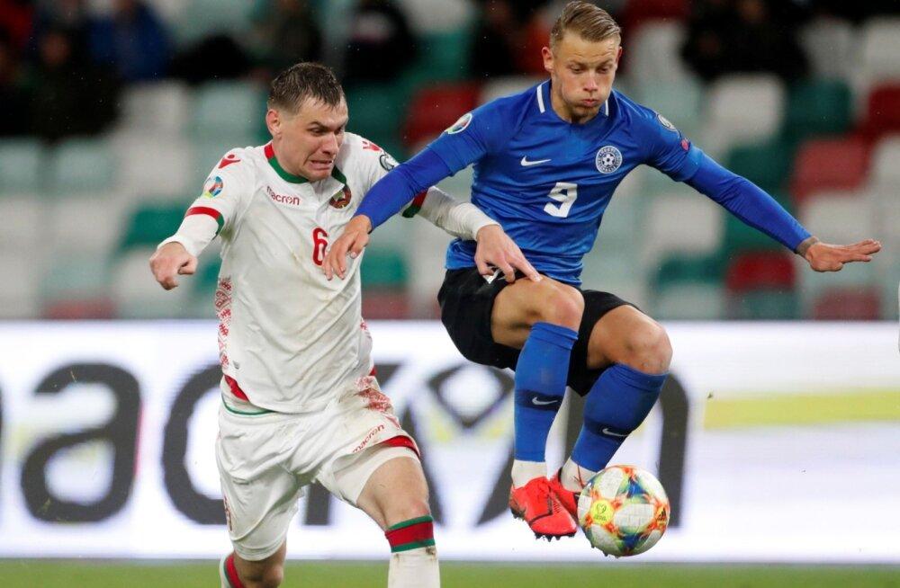Erik Sorga Valgevene koondise vastu võitlemas.