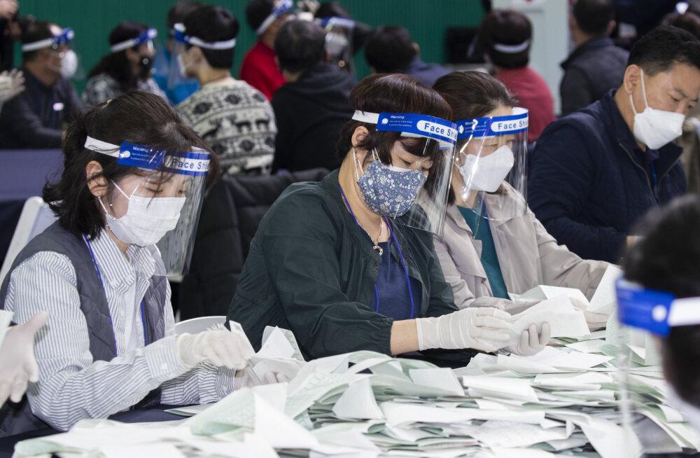 Edukas võitlus koroonaviiruse vastu andis Lõuna-Korea valitsevale parteile parlamendivalimistel ülekaaluka võidu