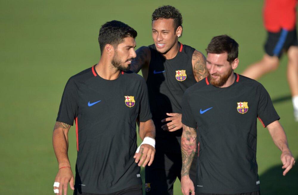 Luis Suarez, Neymar ja Lionel Messi 2017. aastal