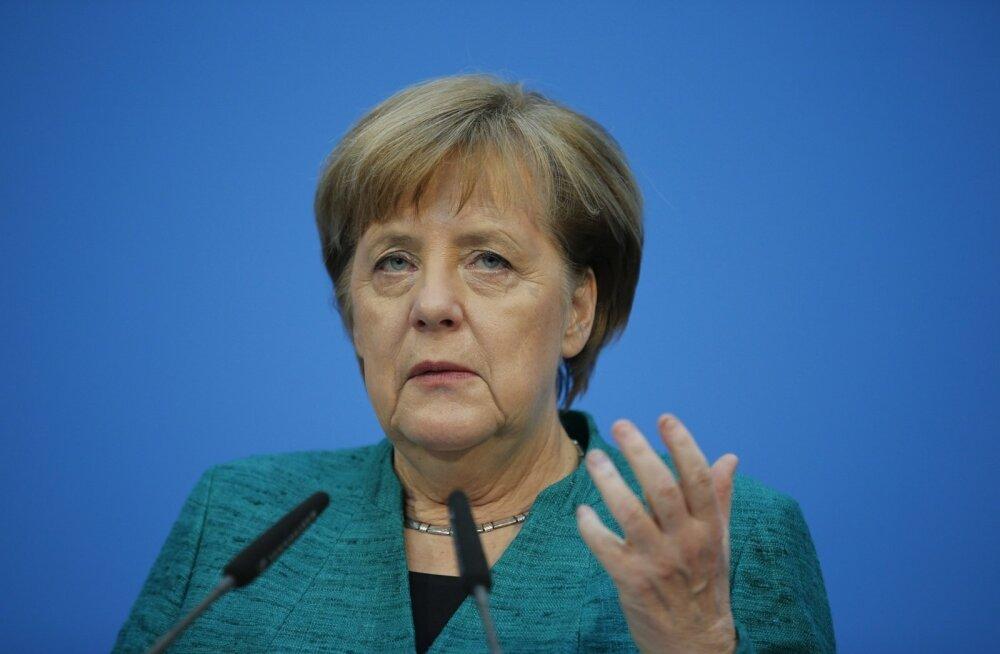 Saksamaa liidukantsler Angela Merkel eile Berliinis pärast öhe veninud koalitsioonikõneluste lõpuspurti.