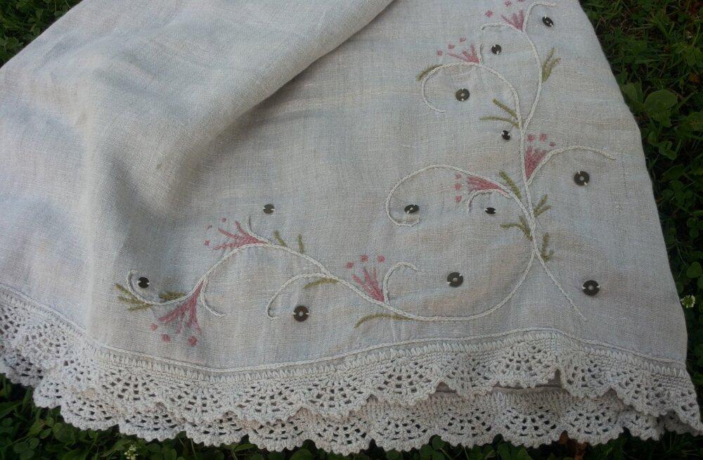 52686c89226 Lihtsat linast kleidikest sobib kanda ka sügisel. Astrid Lepik. Astrid  Lepik. RUS. Tikandil on taimornamentikat ning kaunistuseks on metall-litrid.