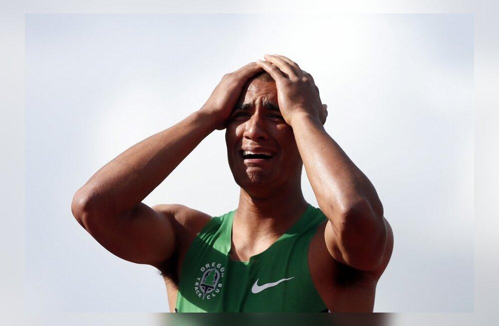 Ashton Eaton pärast maailmarekordi püstitamist